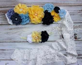 Southern Belle Maternity Sash Set- Flower Sash- Yellow & Blue Maternity Sash- Yellow Maternity Sash- Baby Shower Gift- Maternity Photo Prop