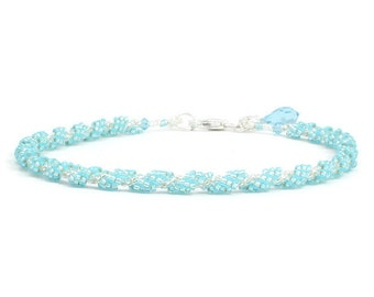 Beaded Aquamarine Anklet - Foot Jewelry - Chain Ankle Bracelet -  Delicate Rope Anklet - Summer Jewelry - Beach Anklet - Seed Bead Anklet