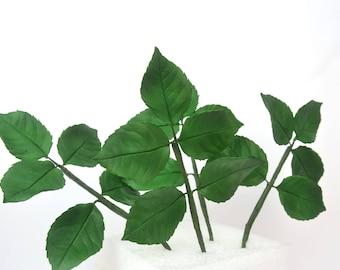 Foliage, rose leaves,  4  twigs, sugar paste, handmade, cake topper, wedding cake, edible, sugar flower