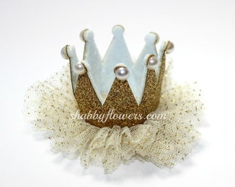Gold Baby Crown, Gold Crown Headband, First Birthday Crown, Baby Gold Crown