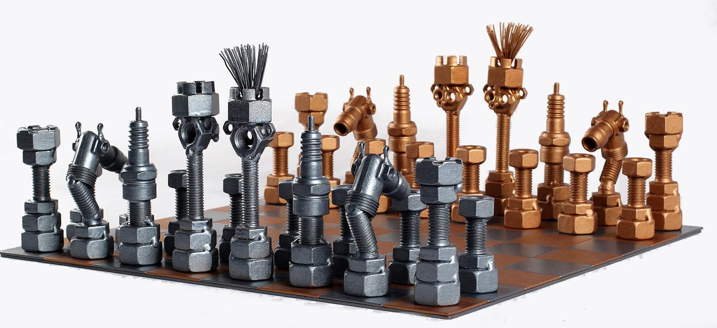 Chess Set Metaldiorama Metal Art