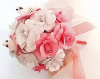 Bridal bouquet for lovebirds / bridal bouquet / paper roses / wedding bouquet / Registrar's Office