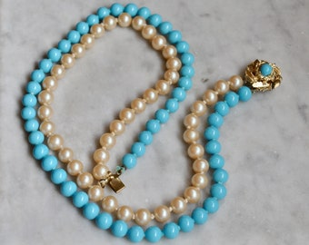 Retro Double Strand Turquoise and Glass Pearl Necklace with Gold Clasp