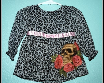 Girls Rockabilly Gothic Dress in Leopard Print and Skulls and Roses ........Size 6-9 months