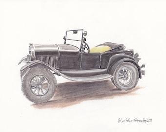 Ford Model T ~ Original Mixed Media Fine Art Illustration Drawing~ by Heather Stinnett