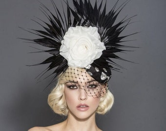 Black and White fascinator, kentucky derby hat, Melbourne cup fascinator, Royal Ascot headpiece