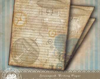 Printable Lined Stationery, Steampunk Stationery Paper, Steampunk Writing Paper, Journal Pages, Steampunk Digital Paper