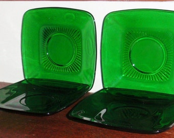 4 CHARM ANCHOR HOCKING Forest Green Square Saucers Cup Rings 1950 Crystal Fire King Glass Plates & Square green plate | Etsy