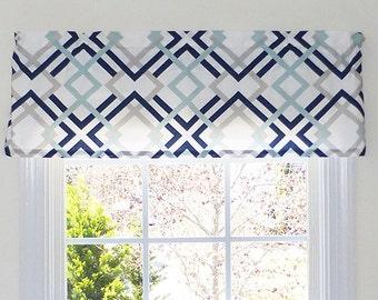 Delightful Made To Order Window Curtains, Valance Window Treatments Nautical Blue,  Handmade Window Treatments, Nice Design