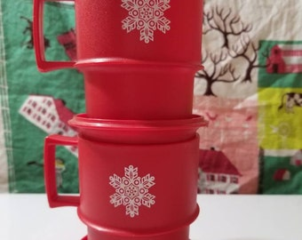 Tupperware Red Snowflake mugs with lids