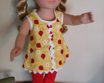 18 Inch Doll Clothes Two Pieces   Top and Leggings   Fits AG and Most Other Dolls of That Size  New Handmade