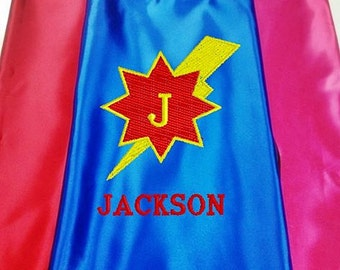Super Hero kid's Cape,  Monogram Lightning Bolt, Star Superhero Cape, Kid's Cape, Embroidered Personalized