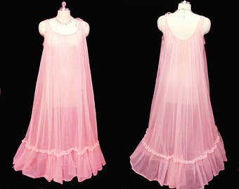 Vintage Texsheen Lingerie Grand Sweep Sheer Double Nylon Lace Flounce Nightgown Mai Tai Pink nightgown 60s nightgown 70s nightgown sheer