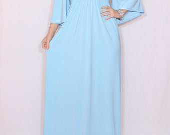 Light blue dress Empire waist dress Kimono dress Women Long dress