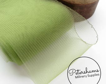 15cm (6 inch) Wide Crinoline (Crin, Horsehair Braid) for Hats, Millinery, and Fascinators - Moss Green