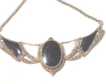 Antique Sterling Silver Onyx and Mother of Pearl Statement Necklace