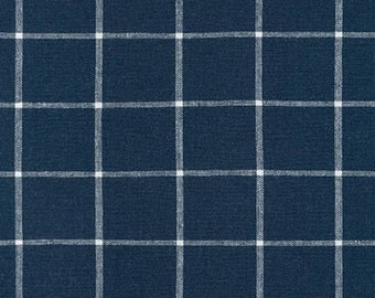 Robert Kaufman Essex Yarn Dyed Linen/Cotton Classic Window Pane in Indigo - Half Yard