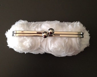 SALE - White Frayed Rosette Clutch