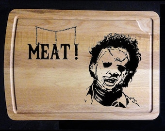 "Texas Chainsaw Massacre: Leatherface ""MEAT!"" Wood Burn - Cutting Board"