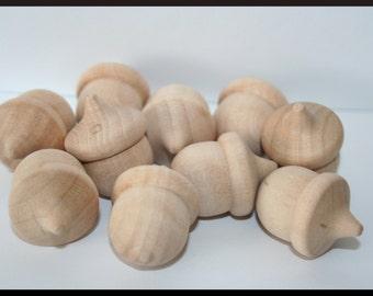 10- Bulk Wood Acorns, Unfinished Acorns, Waldorf Acorns, Wooden Acorns,  Fall Decor, Educational Counting, Acorn Decor