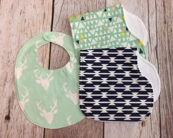 Gender Neutral Gift Set - Navy and Mint - Two Contoured Burp Cloths and Bib - Baby Shower Gift - Baby Gift Set - Gender Neutral Baby