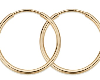 1 Pair, 2 Pcs 16 mm 14K Gold Filled Hoop Earrings  (GF4003802)
