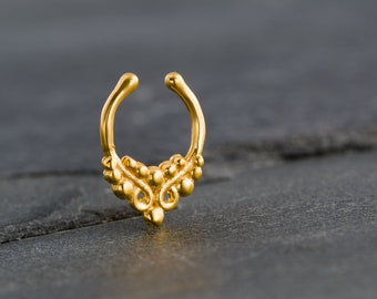 Tiny Fake Gold Septum Ring For Non Pierced Nose