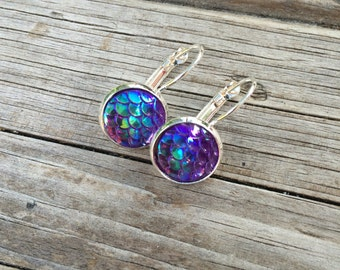 Purple Mermaid Scale Earrings, Mermaid Earrings, Leverback Earrings