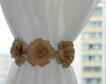 Curtain tie back,Drape Holdback, Burlap Flower curtain tie backs,Shabby chic curtains,Nursery decor,Burlap Curtain Tie Back,Set of 2