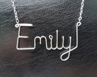 Name Pendant Emily Sterling Silver Custom Wire Word  Necklace Designer in UK