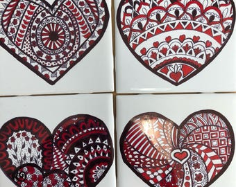 Red Mandela Heart Coasters