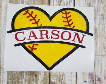 Baseball Heart Decal - Softball Heart Decal - Vinyl Decal - Car Decal