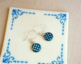 Czech glass earrings Drop earrings Sterling silver earwires