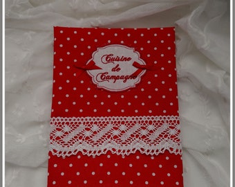 """""""Country kitchen"""" Tea towel with red polka dots"""