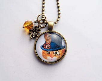 Steampunk Cat Necklace - Victorian Cat Jewelry - Art Pendant - Custom Jewelry - Art Jewelry - Ginger Cat - Animal and Pet Jewelry - Top Hat