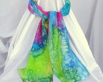 Hand Painted Silk Scarf ,The Reef ,  Scarf, 62 x 11 inches, Made in Australia, Ready to Ship, Gift for her, SallyAnnesSilks  S83