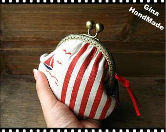 Sailboat  Metal frame purse / coin purse / Coin Wallet / Pouch / Kiss lock frame bag-GinaHandMade