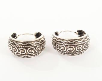 Sterling Silver Oxidised Oval Hooped Earrings