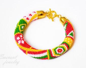 Christmas gift Beaded bracelet Crochet jewelry green red bracelet Bead bangle Seed bead bracelet Tribal bracelet jewelry Multicolor bracelet