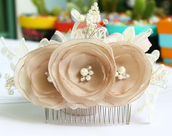Charming Bridal Flora Fabric and Lace, Wedding Flower Hair comb