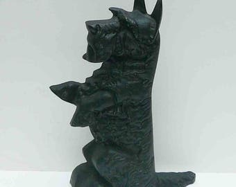 Vintage Scottie Dog Iron Terrier Doorstop Black Cast Iron Collectible Scotty Begging Door Stop Mid Century Dog Lover Welcome Statue Entryway