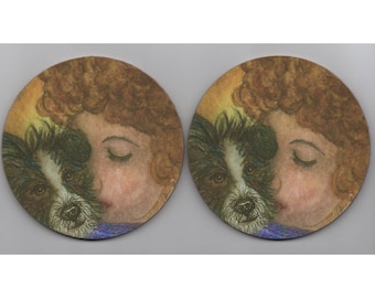 2 x Jack Russell Terrier dog JRT coasters mug mats rough coat tricolor I love my dog ratter Parson Russell woman girl figure Susan Alison