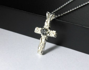 Textured Cross Necklace Black Rough Diamond - Sterling Silver Diamond-cut Long Curb Chain - Raw Diamond Cross