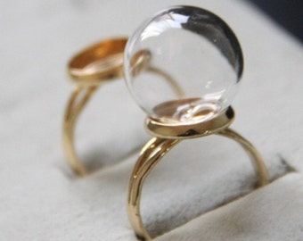 6 set of glass ball with brass ring base set-gold ring with 16x4mm globe