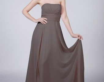 Slate Grey Strapless Long Bridesmaid/Prom Dress by Matchimony