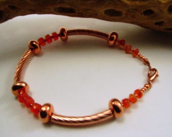 Carnelian and Copper Bracelet