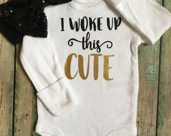 I woke up this cute bodysuit, cute baby, baby shower gift, coming home outfit