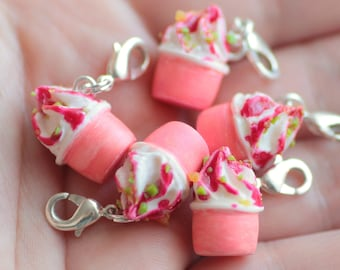 Charms pot of Fimo polymer clay Strawberry ice cream