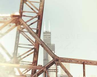 Chicago Photography, Bridge Wall Art Print, Sears Tower Photograph, Chicago Skyline,  pastel art, light blue, pale yellow, Urban Home Decor