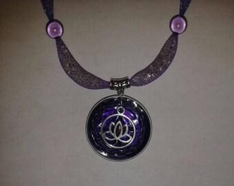 Purple mesh tube necklace